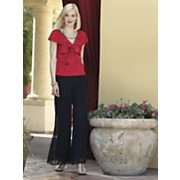 Satin Present Blouse And Chiffon Wide Leg Pant