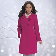 Ruffle Collar Wool Blend Coat