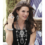 Faux Pearl And Crystal Ball Loop medallion Necklace