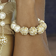 Faux Pearl And Crystal Ball Bracelet