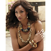 Gemstone Nuggett Necklace And Bracelet And Multimedia Ball Necklace And Earring Set
