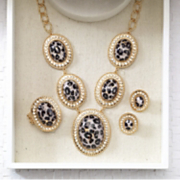 Animal Print crystal Necklace earring Set