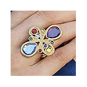 Multicolor Teardrop Stretch Ring