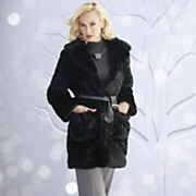 Mink Faux Fur Jacket With Pleather Belt