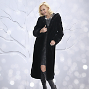 Faux Beaver Hooded Long Coat