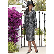 Silver Romance Suit And Satin Feather Hat