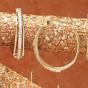 Diamond 3 row Hoops