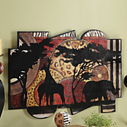 safari sunset animal shaped plaque