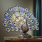 stained glass peacock lamp
