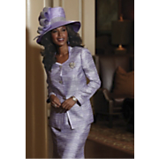 lilac jacquard skirt suit