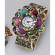multicolor crystal hinge bangle watch