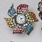 multicolor crystal stretch ring watch