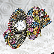 multicolor crystal butterfly watch