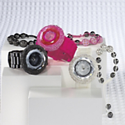 rhinestone accent watch with bracelet set