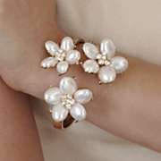 faux pearl floral bangle