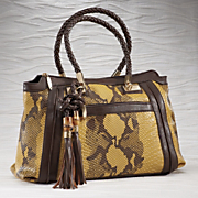 snake skin bamboo accent bag