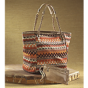 sahara embroidered tote mini pouch