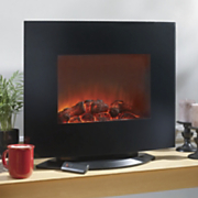 Curved Black Glass Wall Fireplace With Stand