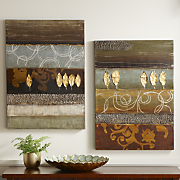 Set Of 2 Gold Leaf Canvas Art