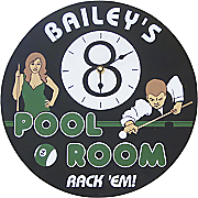 Personalized Pool Room Clock Sign