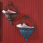 Set Of 2 Burnished Wall Accent Baskets