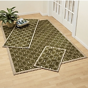 3 piece Carved Goa Tiles Rug Set
