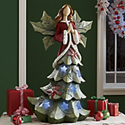 Led Holly Angel Figurine