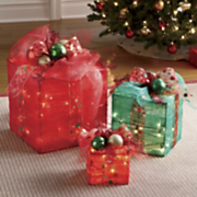 3 piece Lighted Present Set