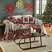 Poinsettia Furniture Throw