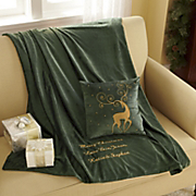 Personalized Reindeer Pillow And Throw