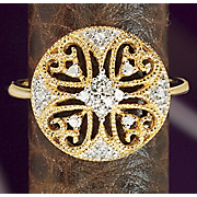 10k Gold Diamond Round filigree Ring
