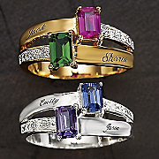 Couples Birthstone name Ring With Diamond Accents