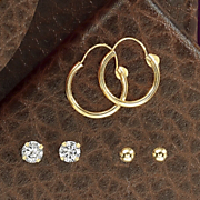 Gold 3 pair Earring Set