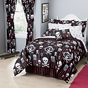 Skulls and Crossbones Complete Bed Set  Window Treatments