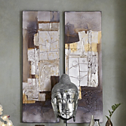 Set Of 2 Metallic Painted Canvases