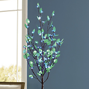 Blue Blossoms Lighted Tree