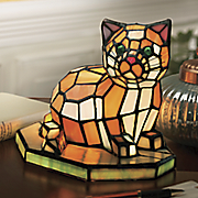 stained glass cat lamp