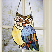 owl stained glass art panel