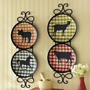 4 piece Farm Animal Plate Set