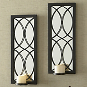 set of 2 crossing curves mirror sconces