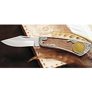 1883 First Year Of Issue Gold layered Rackateer Liberty Nickel Knife