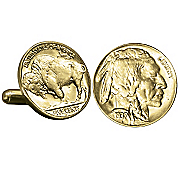 Gold layered Buffalo Nickel Cufflinks