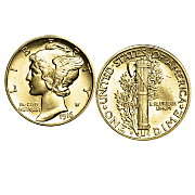 Gold layered Mercury Dime Cufflinks