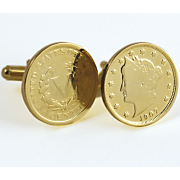 Gold layered Liberty Nickel Cufflinks