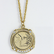 Gold layered Hummingbird Coin Pendant