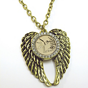 Gold layered Hummingbird Coin Rhinestone Wing Pendant