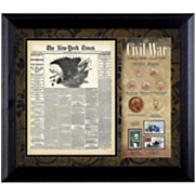 Ny Times Civil War Coin and Stamp Framed Collection