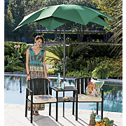 Wrought Iron Chair Table Set and Palm Tree Umbrella