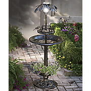 palm tree solar bath birdfeeder