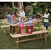 log cut pine picnic table and 2 benches